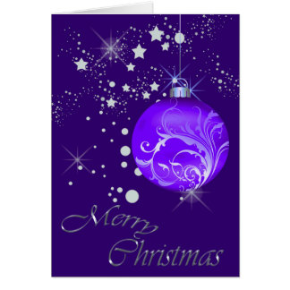 Blue Bulb Silver Stars Christmas Greeting Cards
