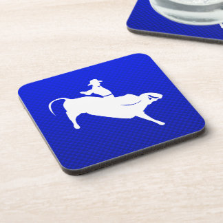 Blue Bull Rider Drink Coaster