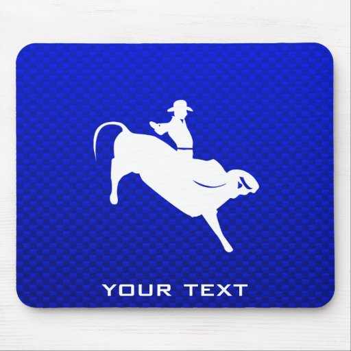 Blue Bull Rider Mouse Pads