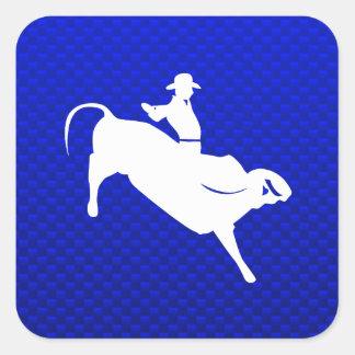 Blue Bull Rider Square Stickers