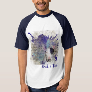 Blue Bull Terrier Newsprint Baseball t-shirt