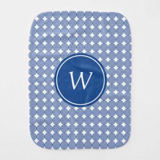 Blue Bullseye Monogram Baby Burp Cloth