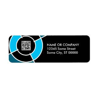 blue bullseye QR code Label