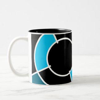 blue bullseye Two-Tone coffee mug
