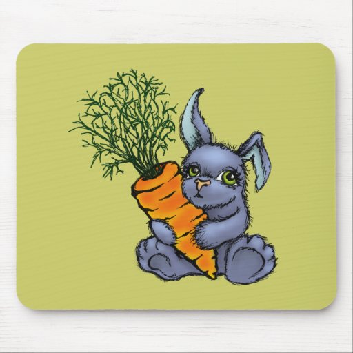 Blue bunny and carrot mousepad
