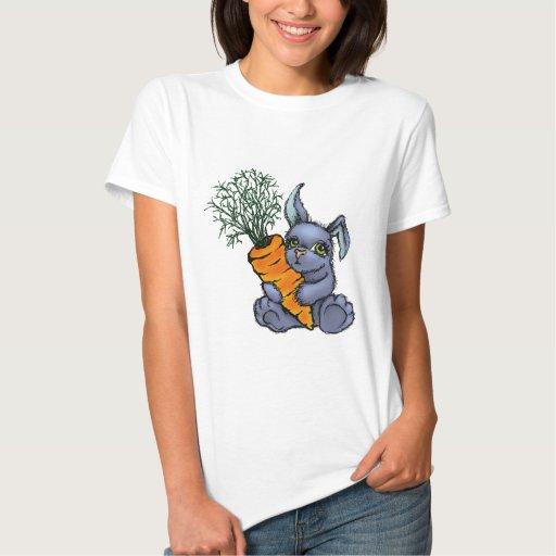 Blue bunny and carrot tee shirt
