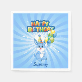 Blue Bunny Birthday Cartoon Paper Napkin