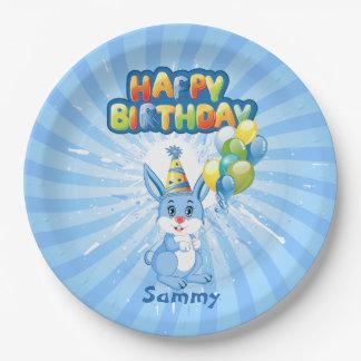 Blue Bunny Birthday Cartoon Paper Plate