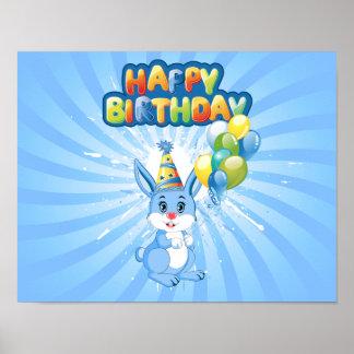 Blue Bunny Birthday Cartoon Poster