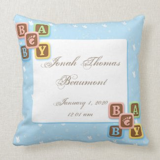 Blue Bunny Blocks Baby Keepsake Pillow