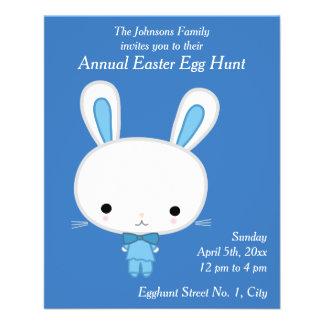 Blue Bunny Easter Egg Hunt Invitations Flyer