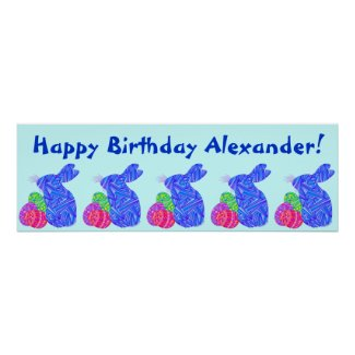 Blue Bunny Easter Themed Birthday Party Banner Posters