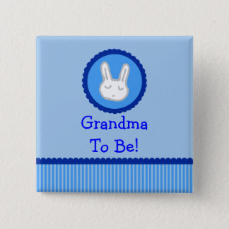 """Blue Bunny """"Grandma To Be"""" Baby Shower Button"""