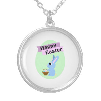 Blue Bunny Happy Easter Silver Plated Necklace