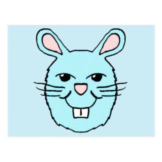 Blue Bunny Head Post Card