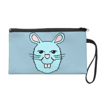 Blue Bunny Head Wristlette Wristlet Purse