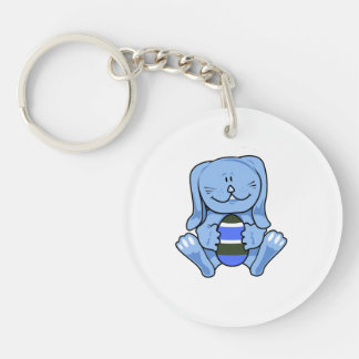 Blue bunny holding egg.png keychain
