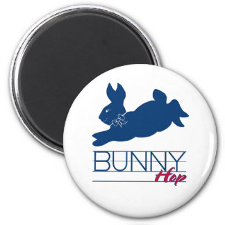 Blue Bunny Hop 2 Inch Round Magnet