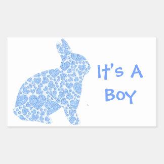 Blue Bunny It's a Boy Rectangular Sticker