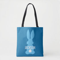 Blue Bunny Silhouette Easter Personalized Boys Tote Bag
