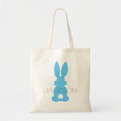 Blue Bunny Silhouette Easter Personalized Tote Bag