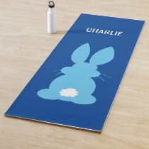 Blue Bunny Silhouette Personalized Cute Animal Yoga Mat