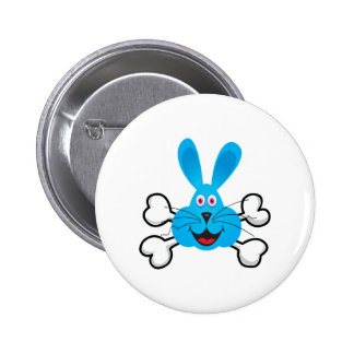 blue bunny Skull and Crossbones Buttons