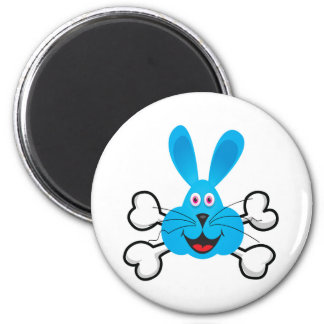 blue bunny Skull and Crossbones 2 Inch Round Magnet