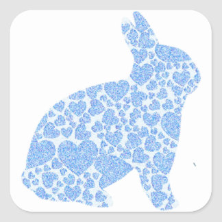 Blue Bunny Square Sticker