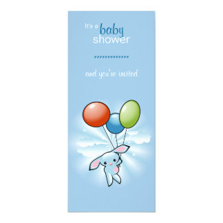 Blue Bunny with Colored Baloons Baby Shower Card
