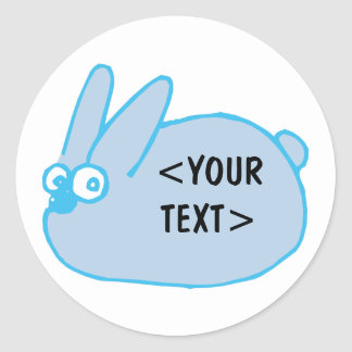 Blue Bunny, <YOUR TEXT> Classic Round Sticker
