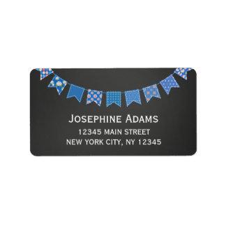 Blue Bunting Address Labels Chalkboard