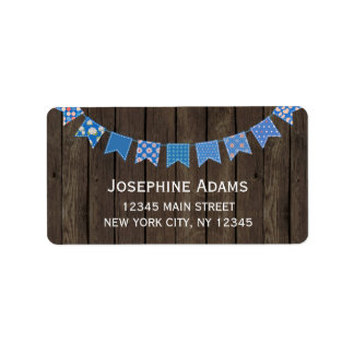 Blue Bunting Address Labels Wood