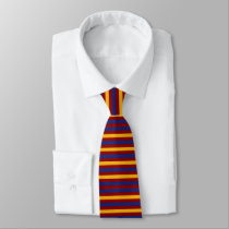 Blue Burgundy and Gold Horizontal Stripes Tie