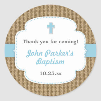 Blue Burlap cross boy baptism christening favor Classic Round Sticker