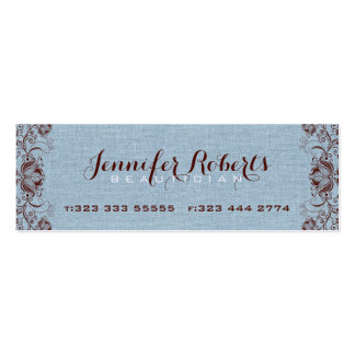 Blue Burlap Linen & Brown Floral & Lace Double-Sided Mini Business Cards (Pack Of 20)