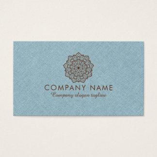 Blue Burlap Linen With Brown Mandala Business Card
