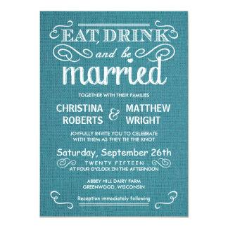 Blue Burlap Rustic Wedding Invitations