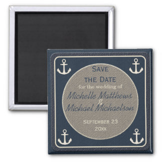 Blue Burlap Ship's Anchor Nautical Save the Date Refrigerator Magnet