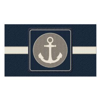 Blue Burlap Ship's Anchor Nautical Wedding Business Card Templates