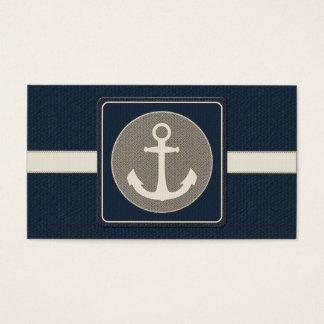 Blue Burlap Ship's Anchor Nautical Wedding Business Card