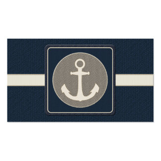 Blue Burlap Ship's Anchor Nautical Wedding Double-Sided Standard Business Cards (Pack Of 100)