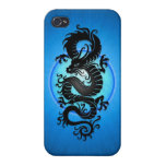 Blue Burst Chinese Dragon iPhone 4 Cases