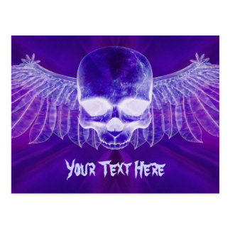 Blue Burst Ghostly Winged Skull Postcard