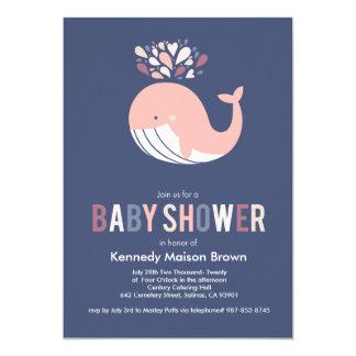 Blue Bursting Whale Baby Shower Invitation