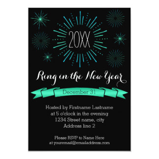Blue Bursts New Year's Eve Party Invitation