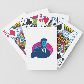 blue businessman politician pointing retro bicycle playing cards