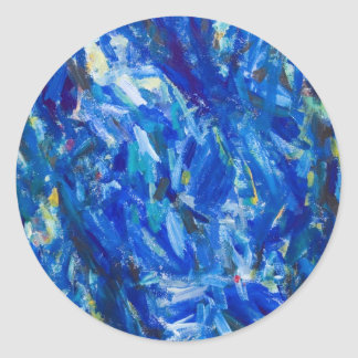 Blue Bust (abstract expressionism) Classic Round Sticker