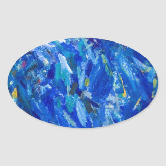 Blue Bust (abstract expressionism) Oval Sticker