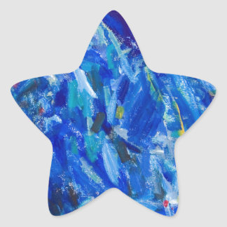 Blue Bust (abstract expressionism) Star Sticker